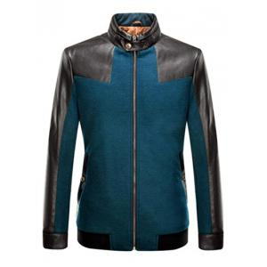 Stand Collar Leather Spliced Jacket ODM Designer - Turquoise - S