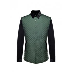 Single Breasted Argyle Quilted Spliced Jacket ODM Designer - Green - S