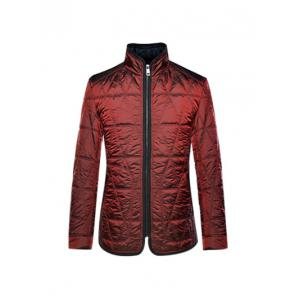 Geometric Quilted Wadded Jacket ODM Designer - Deep Red - S