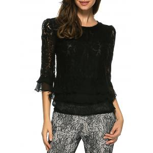 Ruffled Lace Blouse - Black - M