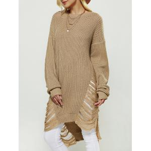 Openwork Asymmetrical Sweater - Earthy - One Size