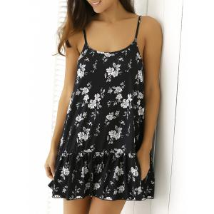 Floral Print Flounced Summer Dress - Black - M