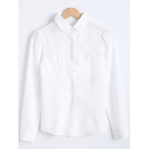 Slimming Crochet Panel Long Sleeves Formal Shirt