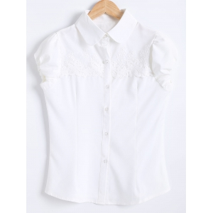Puff Sleeves Spliced Crochet Chiffon Shirt