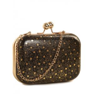 Kiss Lock Dot Chains Evening Bag - Black