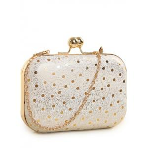 Kiss Lock Dot Chains Evening Bag - Golden