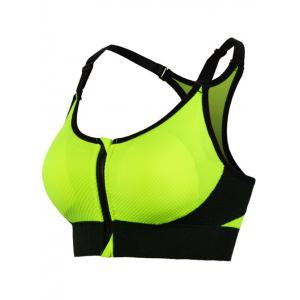 Cut Out Padded Push Up Strappy Racerback Sports Bra - Green - S