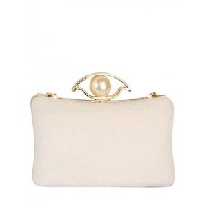 Chain Faux Pearl Metal Evening Bag