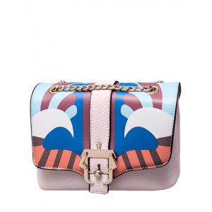 Magnetic Closure Striped Pattern Chain Crossbody Bag
