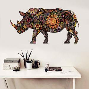 Abstract Colorful Decorative Rhino Pattern Removeable Wall Sticker Animals
