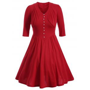 Buttoned Half Sleeves Ruched Flare Dress - Red - M