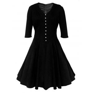 Buttoned Half Sleeves Ruched Flare Dress - Black - L