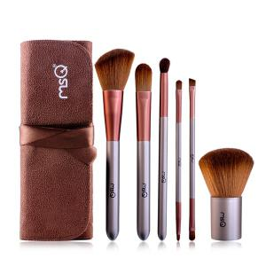6 PCS Face Lip Eye Fiber Makeup Brushes Set with Storage Bag - Coffee - 40
