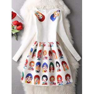 Cartoon Print Long Sleeve Skater Dress