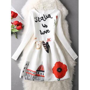 Letter Flower Long Sleeve Dress - Black - S