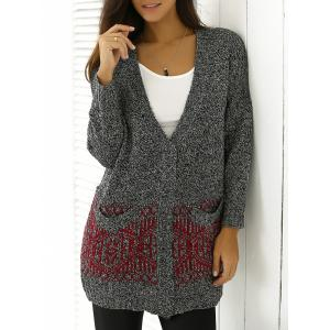 Heathered Patterned Jacquard Long Knitwear - Red - One Size