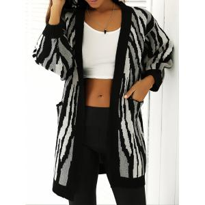 Loose-Fitting Striped Puff Sleeves Cardigan