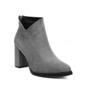 Pointed Toe Chunky Heel Ankle Boots