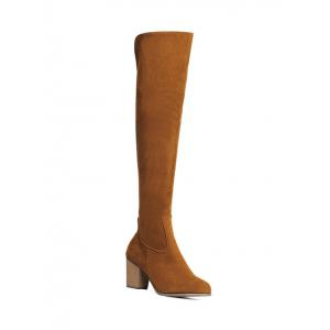 Zipper Flock Chunky Heel Thing High Boots