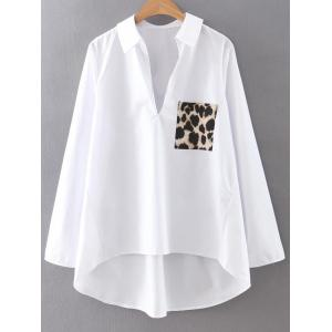 High Low Leopard Pocket Pullover Blouse - White - S