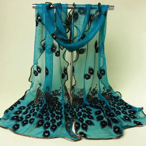Ethnic Peacock Feather Velvet Covered Edge Soft Scarf