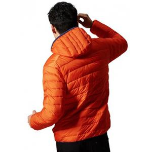 Couleur Spliced ​​Zipper-Up Hooded Down Jacket - Orange 2XL