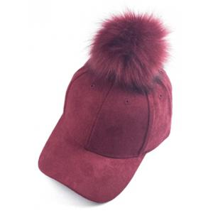 Casual Big Fuzzy Ball Faux Suede Baseball Hat