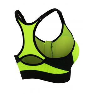 Cut Out Padded Push Up Strappy Racerback Sports Bra - GREEN S