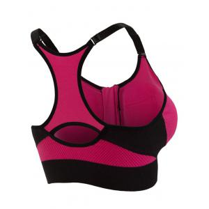 Cut Out Padded Push Up Strappy Racerback Sports Bra - ROSE MADDER M