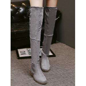 Zipper Flat Heel Thing High Boots -