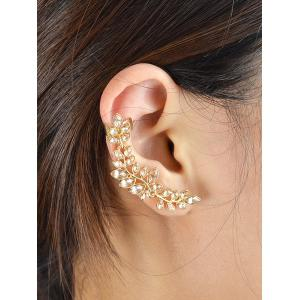Faux Crystal Leaf Shape Ear Cuffs - GOLDEN