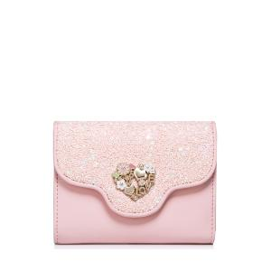 Floral Heart Sequins Small Wallet - Pink - 38