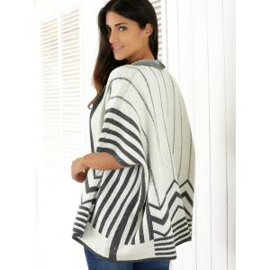 Striped Batwing Sleeve Cardigan -