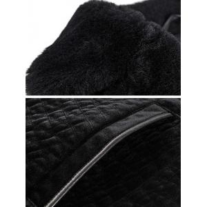Rhombus Pattern Fur Lapel Long Sleeve Coat ODM Designer -