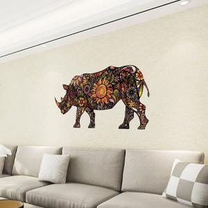Abstract Colorful Decorative Rhino Pattern Removeable Wall Sticker Animals -