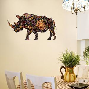 Abstract Colorful Decorative Rhino Pattern Removeable Wall Sticker Animals - COLORMIX