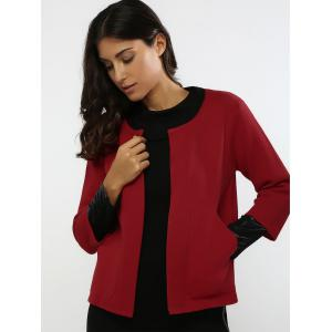 Color Block Convertible Short Knitted Cardigan -