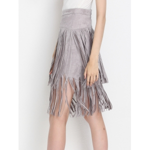 High Waist Tiered Fringed Suede Skirt - GRAY L