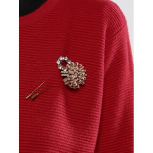 Puff Sleeves Brooch Embellished Knitted Cardigan -