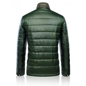 Zippeded Patched Leather Paneled Wadded Coat ODM Designer - GREEN 3XL