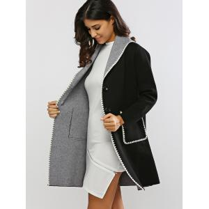 Covertible Contrast-Trim Long Cardigan - BLACK ONE SIZE