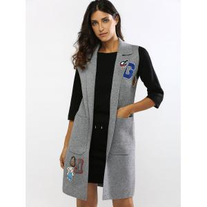 Bear Embroidered Double Pockets Long Vest -