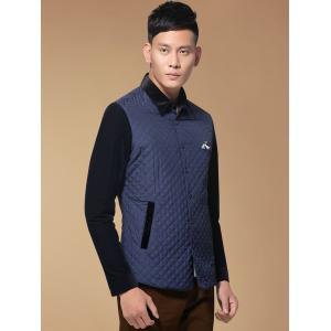 Single Breasted Argyle Quilted Spliced Jacket ODM Designer - PURPLISH BLUE 3XL