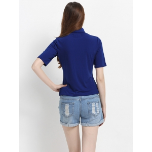 Pure Color Half Sleeves Turtle Neck T-Shirt -