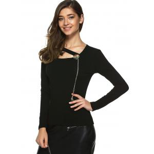 Chain Cut Out Pullover T Shirt -