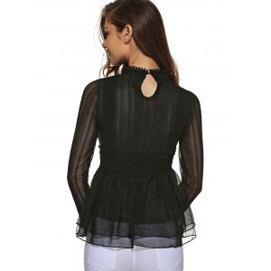 Lace Paneled Tulle Blouse -