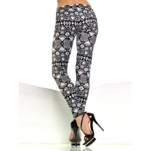 Patterned Skinny Pants - WHITE AND BLACK ONE SIZE
