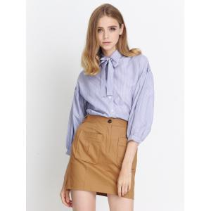 Puff Sleeves Striped Bowknot Blouse -