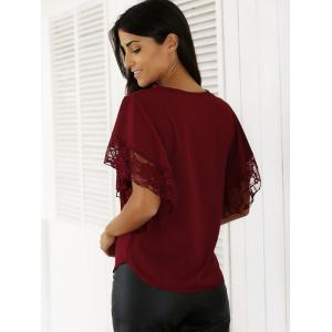 Chic Batwing Sleeve Lace Spliced Blouse -