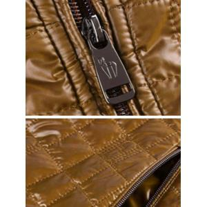 Geometric Zip Up Padded Jacket ODM Designer - BROWN S